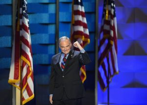 Virginia Sen. Tim Kaine accepted his nomination as vice president in his address at the Democratic National Convention in Philadelphia on Wednesday. (Washington Post photo by Michael Robinson Chavez)