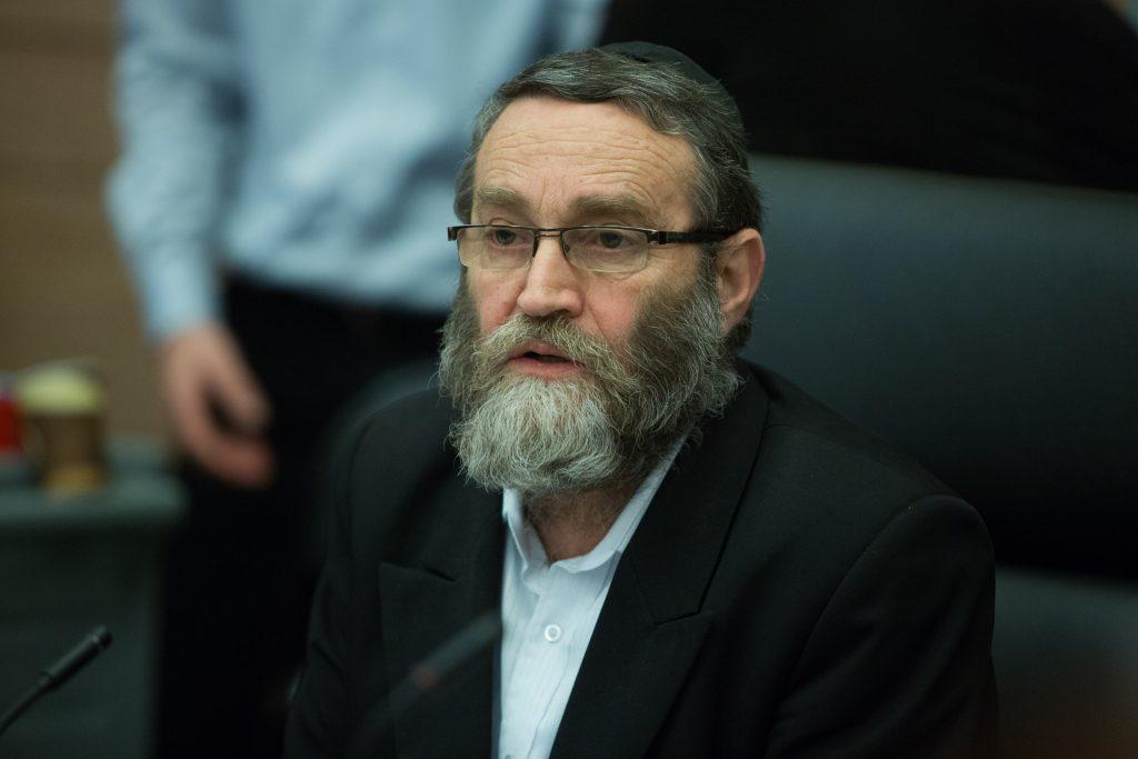 Chairman of the Finance Committee, Rabbi Moshe Gafni, of United Torah Judaism. (Yonatan Sindel/Flash90)