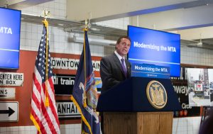Gov. Andrew Cuomo on Monday unveiled the redesigned MTA subway cars at the Transit Museum in Brooklyn. (Office of Gov. Cuomo)