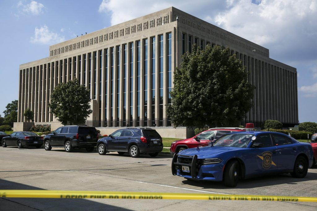 Police tape surrounds the Berrien County Courthouse in St. Joseph, Mich., on Monday. (Chelsea Purgahn/Kalamazoo Gazette via AP)