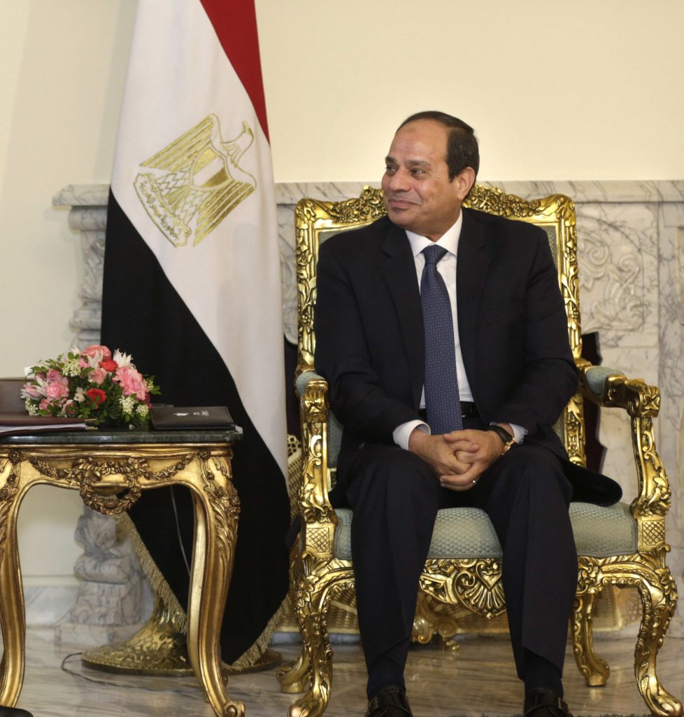 Egyptian President Abdel-Fattah el-Sissi, right, meets with U.S. Secretary of State John Kerry at the presidential palace in Cairo, Egypt, Wednesday, May 18, 2016. U.S. Secretary of State John Kerry was holding talks Wednesday with Egyptian officials on the country's political situation and to explore Egypt's ideas for supporting a new Israeli-Palestinian peace bid. (AP Photo/Amr Nabil)