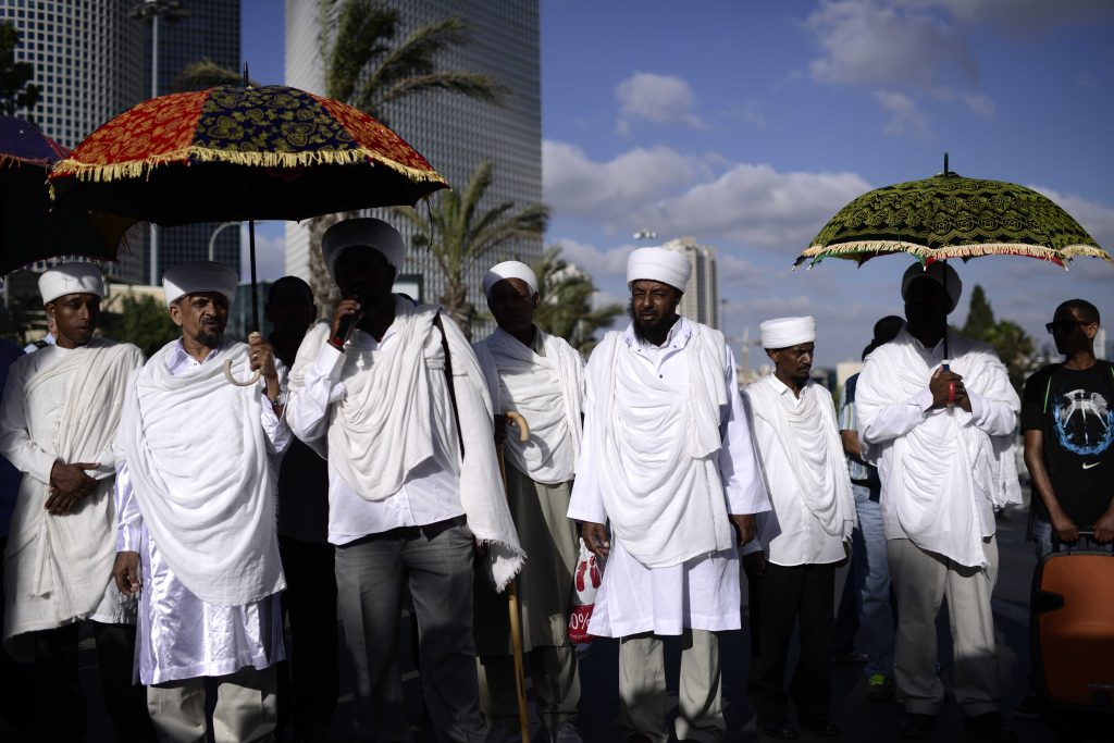 Israeli-Ethiopians and activists in a protest march against police brutality in Tel Aviv on June 22, 2015. (Tomer Neuberg/Flash90 )