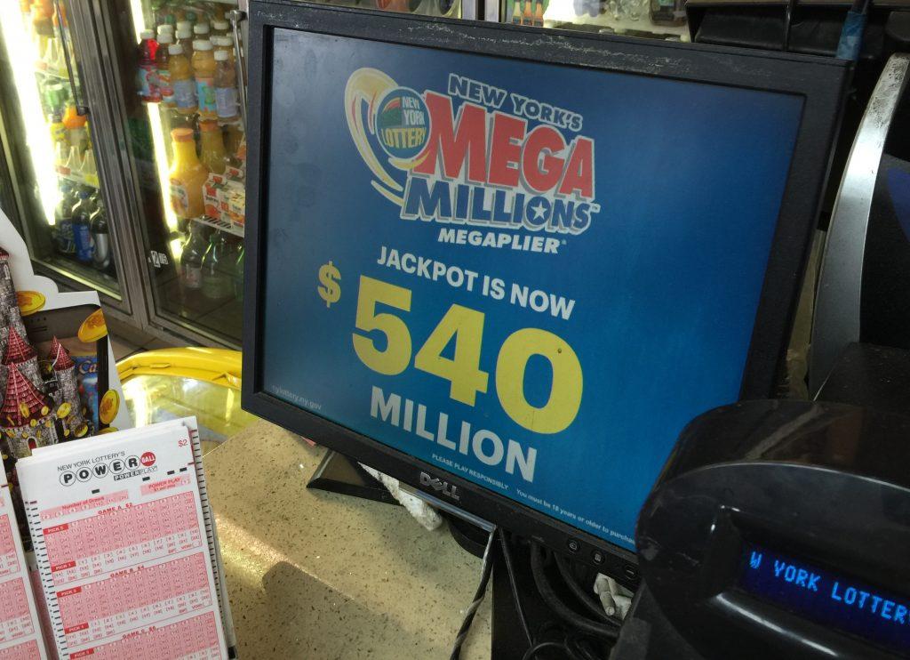 The Mega Millions jackpot displayed in a Brooklyn deli. (Isser Berg/Hamodia)