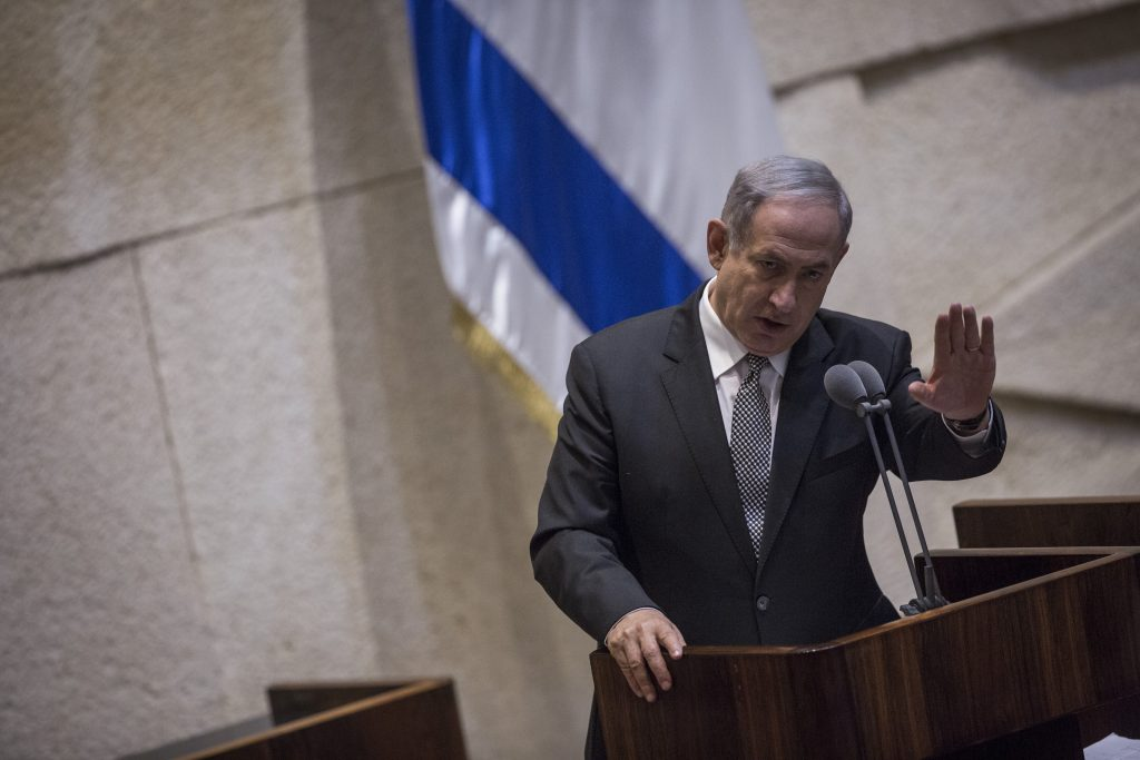 Israeli Prime Minister Binyamin Netanyahu takes questions in the Knesset for the first time, on Monday. (Hadas Parush/Flash90)