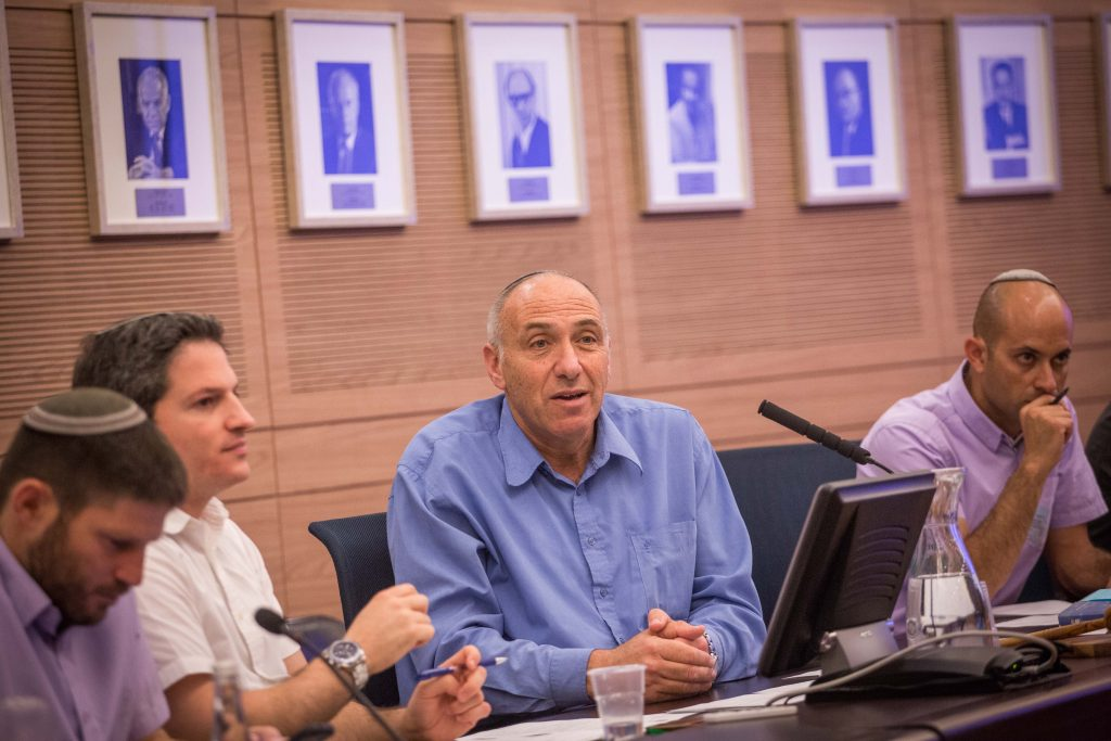 MK Motti Yogev (Jewish Home), chairman of the subcommittee on Civil Affairs and Security in Yehudah and Shomron in the Knesset. (Hadas Parush/Flash90)