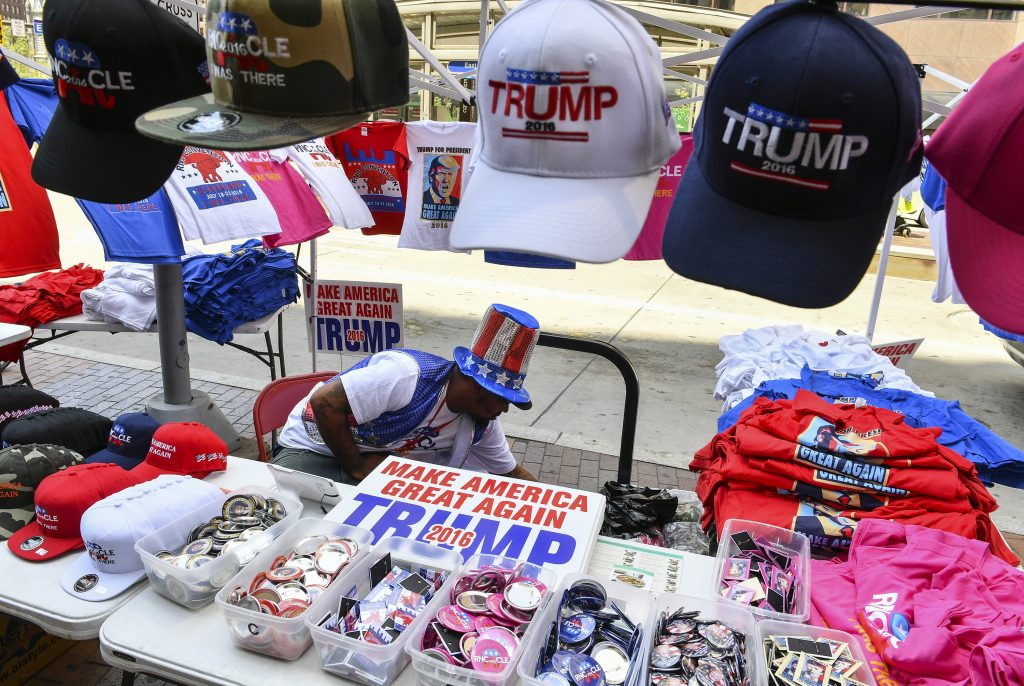 A stand selling Trump campaign items in Cleveland during the Republican National Convention. (Ricky Cariot/ The Washington Post)