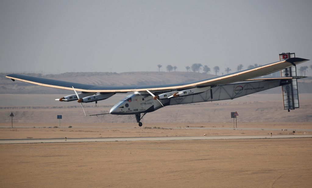 Solar Impulse 2, a solar powered plane piloted by Swiss aviator Andre Borschberg, is seen as it prepares to land at Cairo Airport, Egypt July 13, 2016. REUTERS/Amr Abdallah Dalsh
