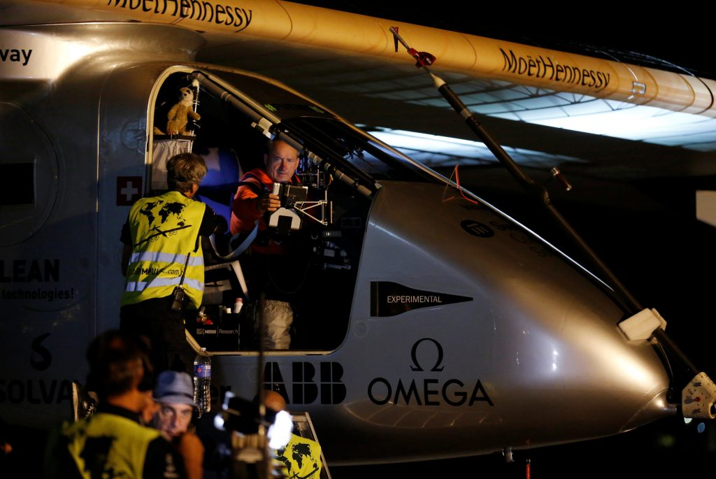 Swiss aviator Andre Borschberg sits in the solar-powered plane Solar Impulse 2 before taking off at San Pablo airport in Seville, southern Spain July 11, 2016. REUTERS/Marcelo del Pozo