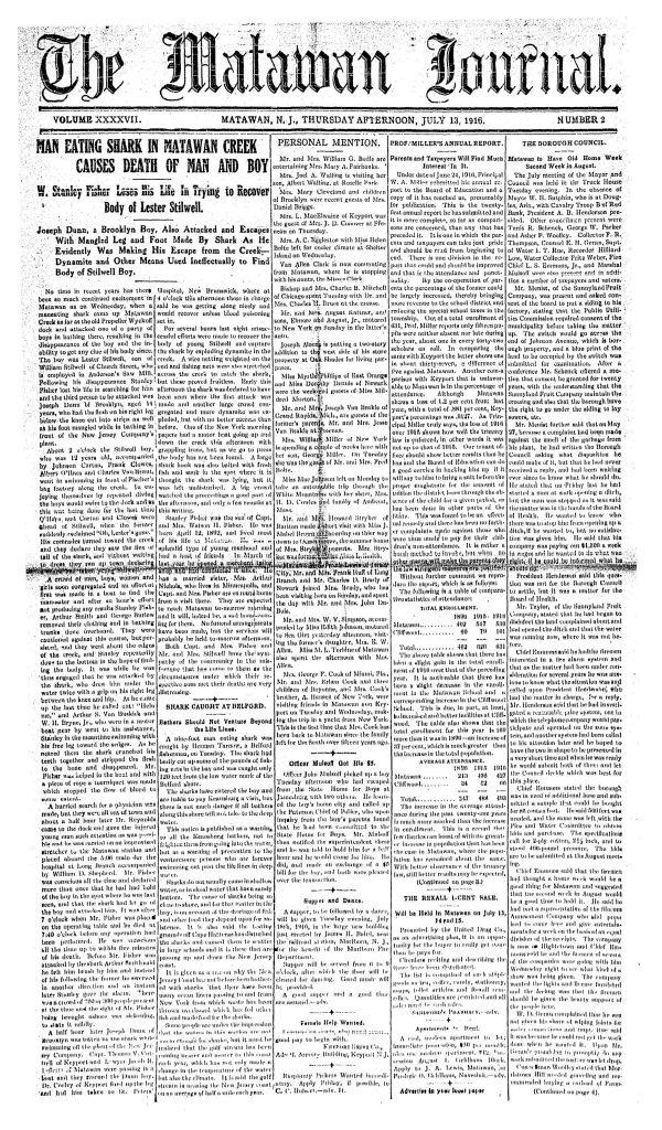 The front page of the July 13, 1916 Matawan Journal, describing a fatal shark attack on a man and boy in a creek in Matawan, N.J. (Matawan Historical Society via AP)