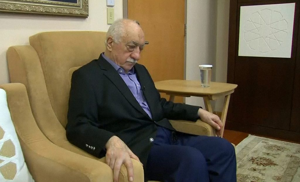 U.S.-based cleric Fethullah Gulen, whose followers Turkey blames for a failed coup, pauses before speaking to journalists in this still image taken from video, at his home in Saylorsburg, Pennsylvania July 16, 2016. Gulen said democracy cannot be achieved through military action. REUTERS/Greg Savoy/Reuters TV
