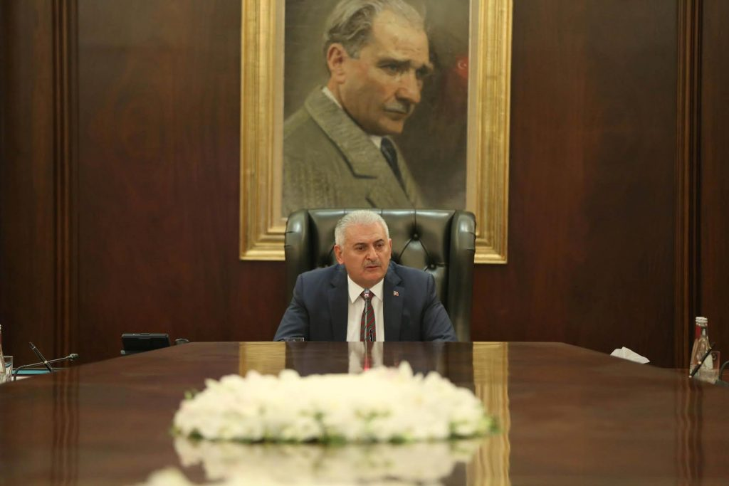 Turkish Prime Minister Binali Yildirim chairs a cabinet meeting in Ankara, Turkey, July 18, 2016. Hakan Goktepe/Prime Minister's Press Office/Handout via REUTERS ATTENTION EDITORS - THIS PICTURE WAS PROVIDED BY A THIRD PARTY. FOR EDITORIAL USE ONLY. NO RESALES. NO ARCHIVE.