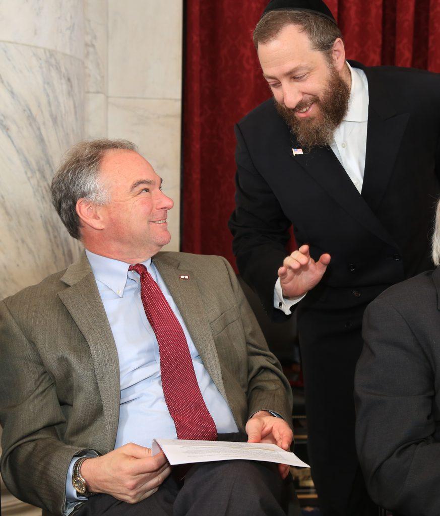L-R: US Senator Tim Kaine, Ezra Friedlander (Shmuel Lenchevsky/The Friedlander Group)