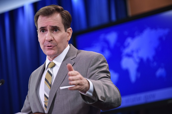 State Department Spokesman John Kirby condemned Israeli building in Yehudah and Shomron at the daily briefing in Washington. (Mandel Ngan/AFP/Getty Images)