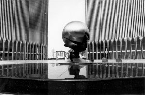 The sculpture at the World Trade Center on May 24, 1977. (AP Photo/File)