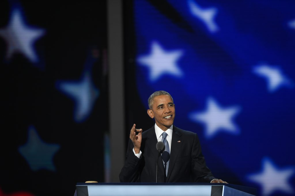 President Barack Obama addressing the Democratic National Convention on Wednesday night. (Washington Post photo by Michael Robinson Chavez)