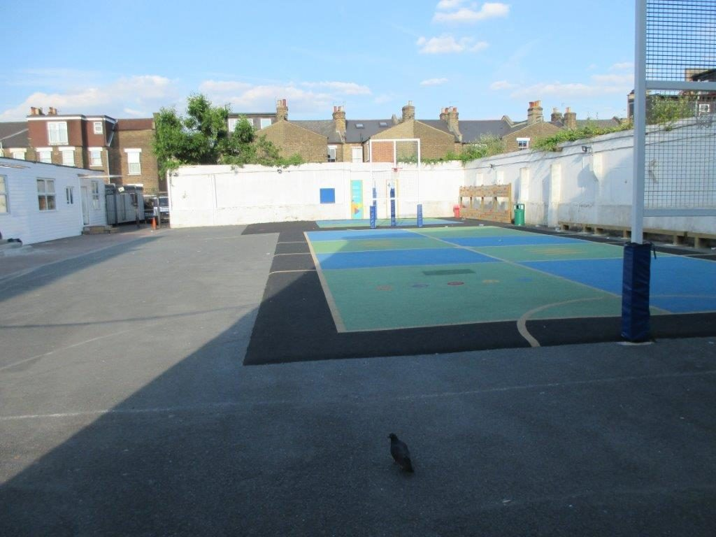 The playground in the Beis Malka school in London.
