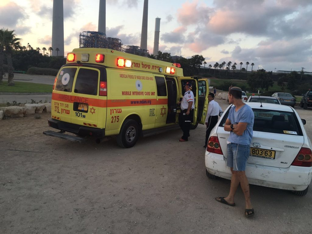 A Magen Dovid Adom ambulance at the scene of the drowning in Hadera on Wednesday. (MDA)