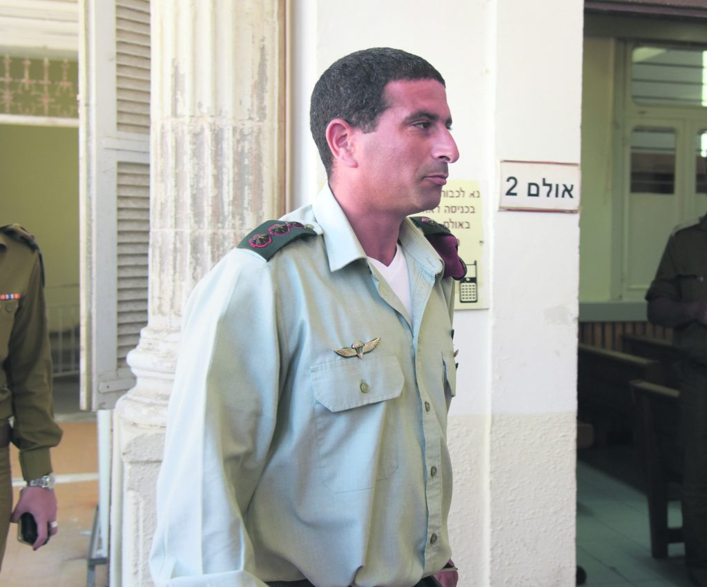 """Col. Yariv Ben-Ezra, the outgoing commander of the Hebron Brigade, arrives to the military court in Jaffa on July 06, 2016, to testify in the case against Elior Azaria, the Israeli soldier, who shot and killed a Palestinian terrorist in Hebron a few months ago. Elior Azaria was filmed shooting a Palestinian attacker, who was already """"neutralized"""" by other soldiers who stopped him from attacking further. Photo by Flash90 *** Local Caption *** טרור פיגוע דקירה פצוע קל אליאור עזריה מחבל חיילים מח""""ט יהודה יריב בן עזרא חברון כתב אישום משפחה חייל יורה מואשם בצלם בית משפט יפו"""