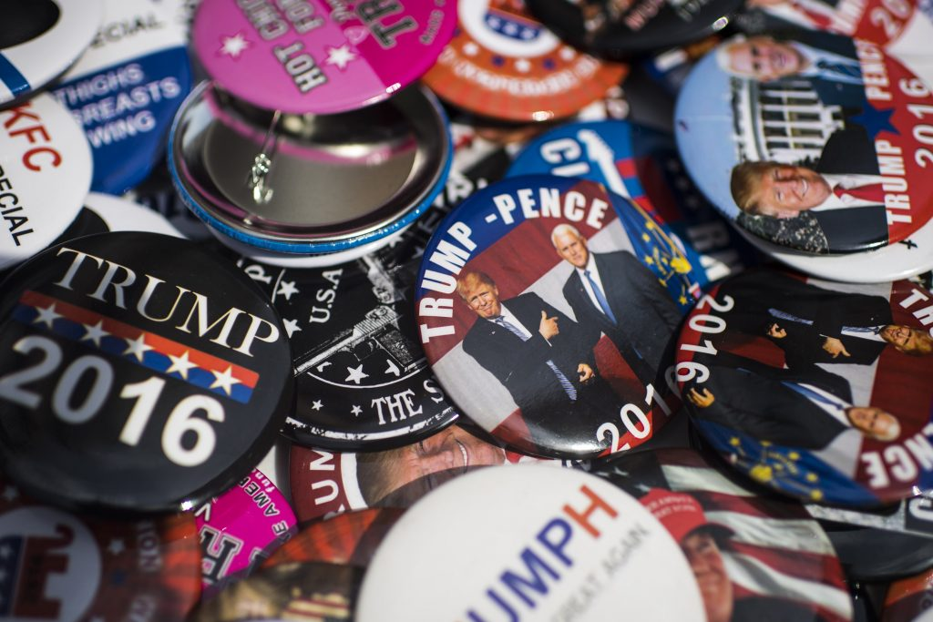 A view of buttons for sale along 4th Street in Cleveland on the last day of the 2016 Republican National Convention. (Jabin Botsford/The Washington Post)