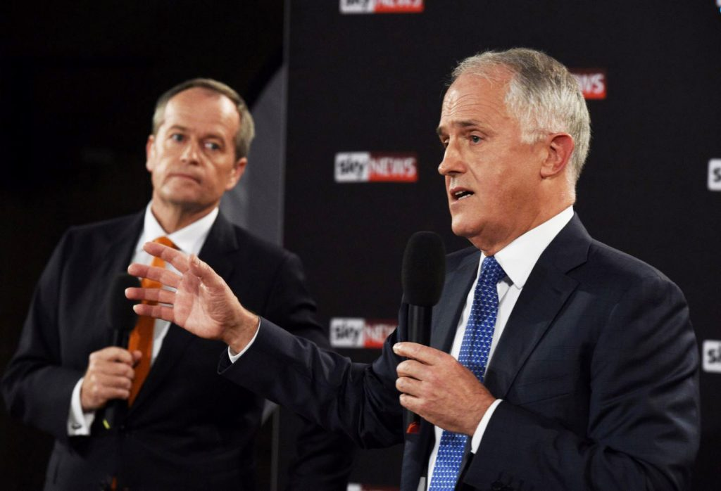 AAP/Mick Tsikas/via REUTERS Prime Minister Malcolm Turnbull (R) speaks alongside Labor leader Bill Shorten during their first debate in Sydney, last Friday.