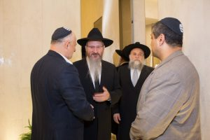Chief Rabbi of Russia, Rabbi Berl Lazar with the sponsors of the Mikvah.