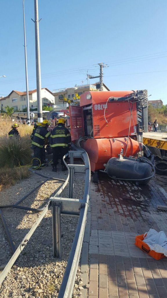 The overturned truck, Tuesday morning. The overturned truck on Tuesday morning. Two people were killed in the accident. (Fire Brigade Yehudah and Shomron)