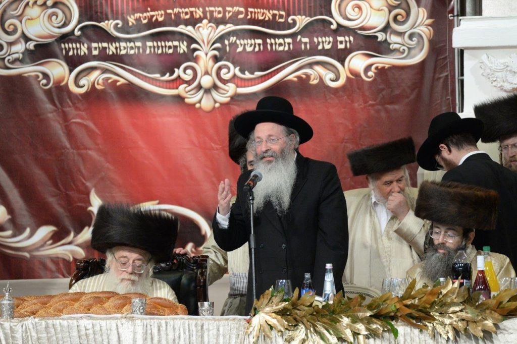 Hagaon Harav Malkiel Kotler, shlita, speaks at the Siyum HaShas. (JDN)