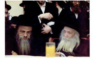 "Harav Shmuel Naftali Genger, zt""l (L) with the Sanz-Klausenburger Rebbe, ZY""A. (Lenchevsky Brothers)"