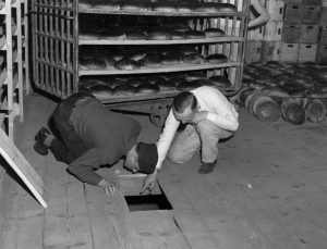In this April 1946 photo, U.S. Lt. Robert R, Rogers, left, and Erich Pinkau of the German criminal police, examine the under-floor hiding place where arsenic was found in the Nuremberg, Germany bakery that supplied bread to Stalag 13. (U.S. Army Signal Corps via AP)