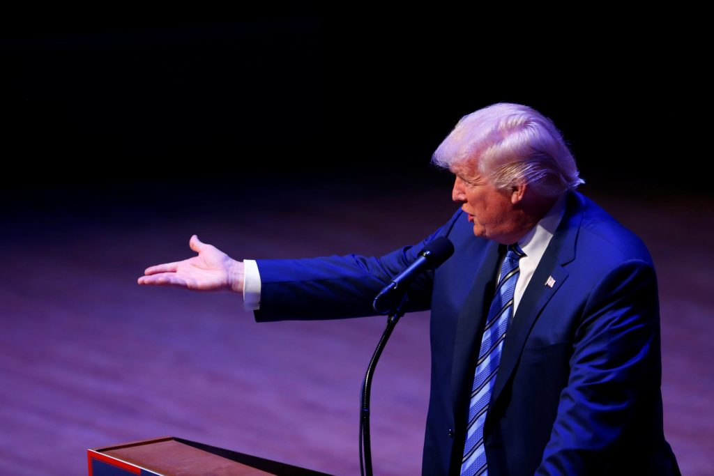 Presidential nominee Donald Trump attends a campaign event at the Merrill Auditorium in Portland, Maine August 4. (Eric Thayer/Reuters)
