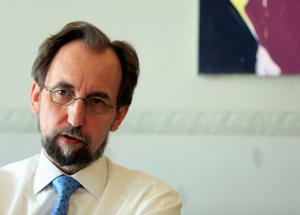 United Nations High Commissioner for Human Rights Zeid Ra'ad Al Hussein, during an interview with Reuters in Geneva, Switzerland, on Wednesday. (Reuters/Pierre Albouy)