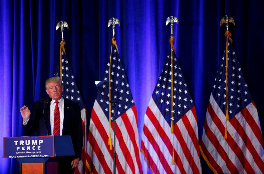 Republican U.S. presidential nominee Donald Trump speaks at Youngstown State University in Youngstown, Ohio. (Eric Thayer/Reuters)
