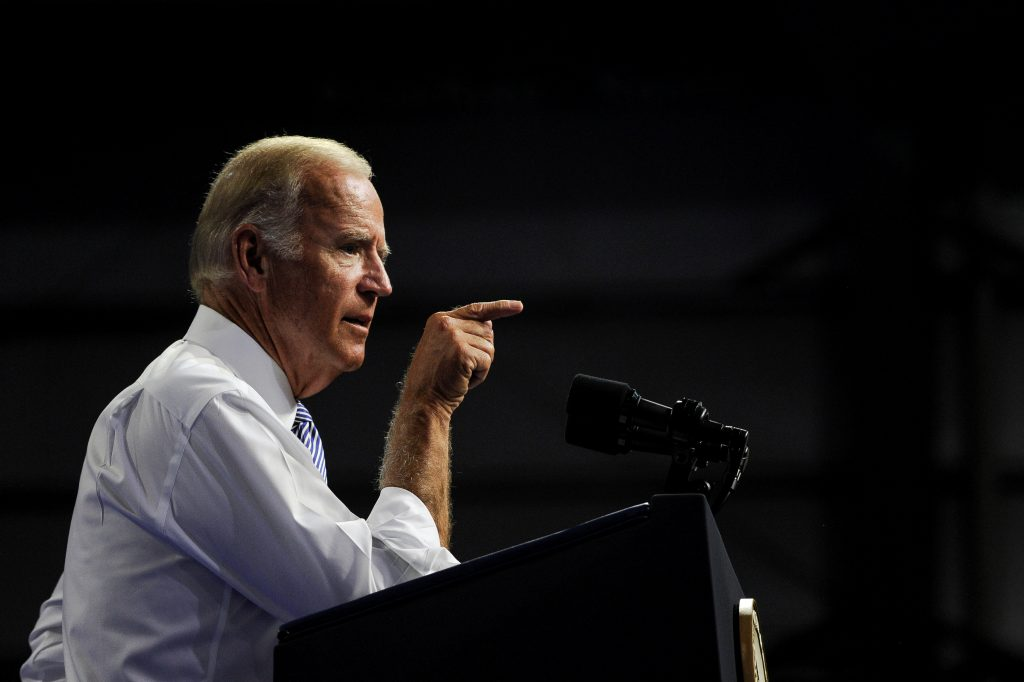 Vice-President Joe Biden speaks during campaign event with Democratic presidential candidate Hillary Clinton in Scranton, Pennsylvania. (Charles Mostoller/Reuters)