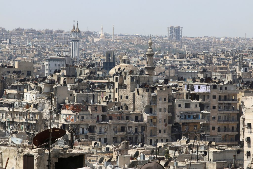 Government-controlled areas of Aleppo as seen from rebel-held part of the city, on Monday.(Reuters/Abdalrhman Ismail)