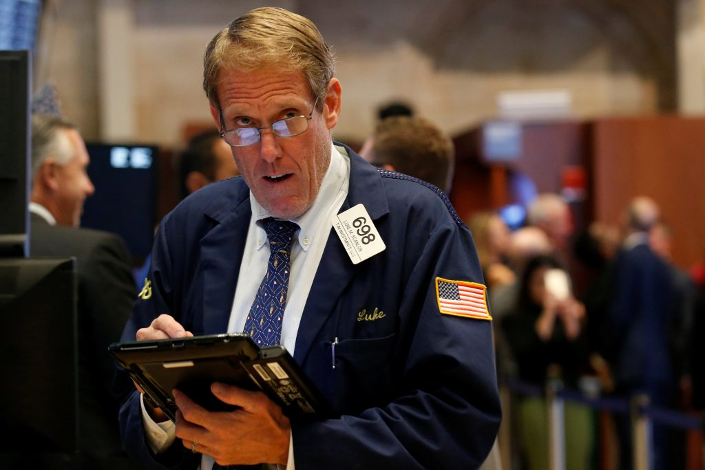 A trader works on the floor of the New York Stock Exchange on Wednesday. (Reuters/Brendan McDermid)