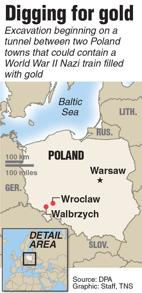 Locator map of Wroclaw, Poland where excavation begins on Nazi gold train.