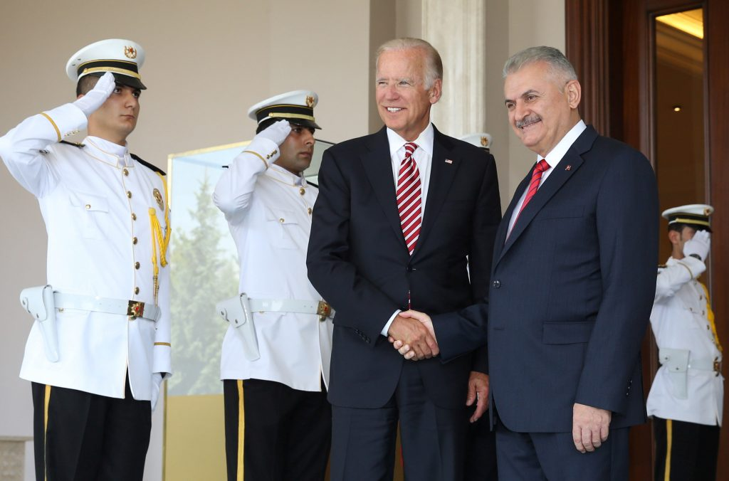 Turkish Prime Minister Binali Yildirim (R) meets with U.S. Vice President Joe Biden in Ankara, Turkey, August 24, 2016. Hakan Goktepe/Prime Minister's Press Office/Handout via REUTERS ATTENTION EDITORS - THIS PICTURE WAS PROVIDED BY A THIRD PARTY. FOR EDITORIAL USE ONLY. NO RESALES. NO ARCHIVE.