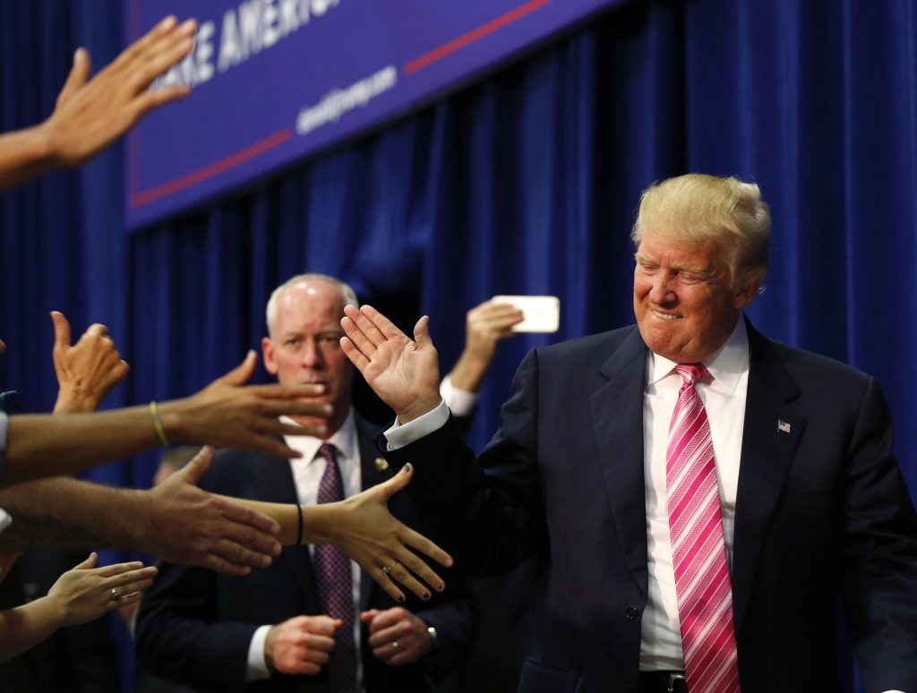 Donald Trump at a campaign rally in Fredericksburg, Va., on Saturday. (AP Photo/Gerald Herbert)