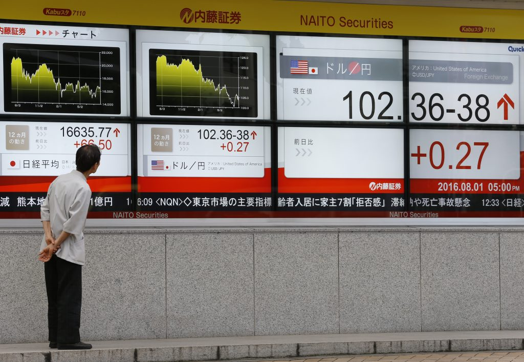 A man looks at an electronic stock indicator of a securities firm in Tokyo, Monday, Aug. 1, 2016. Shares were higher Monday in Asia, as investors shrugged off disappointing growth data from the U.S. and lackluster but better-than-expected manufacturing figures for China. (AP Photo/Shizuo Kambayashi)