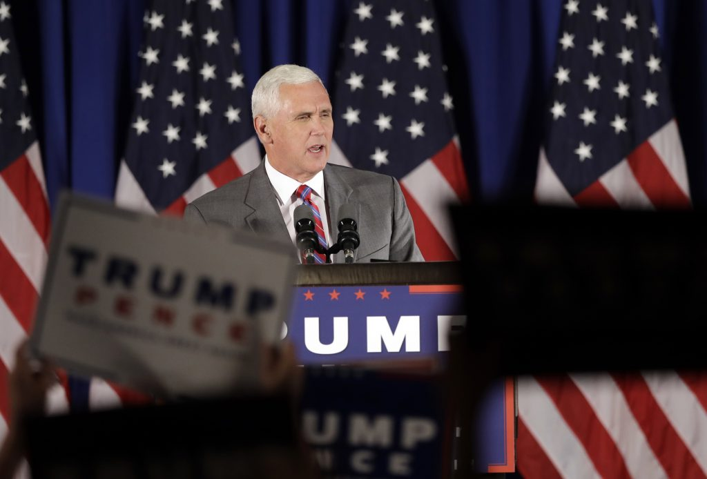 In this July 28, 2016, file photo, Republican vice presidential candidate Gov. Mike Pence, R-Ind., addresses supporters during a campaign event in Novi, Mich. Since his selection as Donald Trump's running mate, Pence has tried to stay focused on winning over conservatives skeptical of the New York billionaire. His new boss keeps getting in the way. On several occasions in the past week, the Indiana governor has found himself in direct conflict with Trump, taking a different campaign tact or running damage control after one of the Republican presidential nominee's incendiary remarks. (AP Photo/Carlos Osorio)