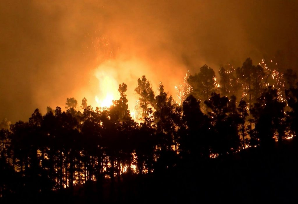 In this image made from video, a forest fire rages in La Palma on the Canary Islands, Spain. (Wikono via AP)