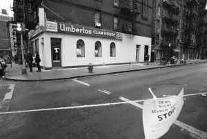 In this April 1972 photo, police tape surrounds Umberto's Clam House on Mulberry Street in Little Italy, after mobster Joey Gallo was was shot to death in the restaurant on his 43rd birthday, April 7, 1972. (AP Photo/Jerry Mosey, File)