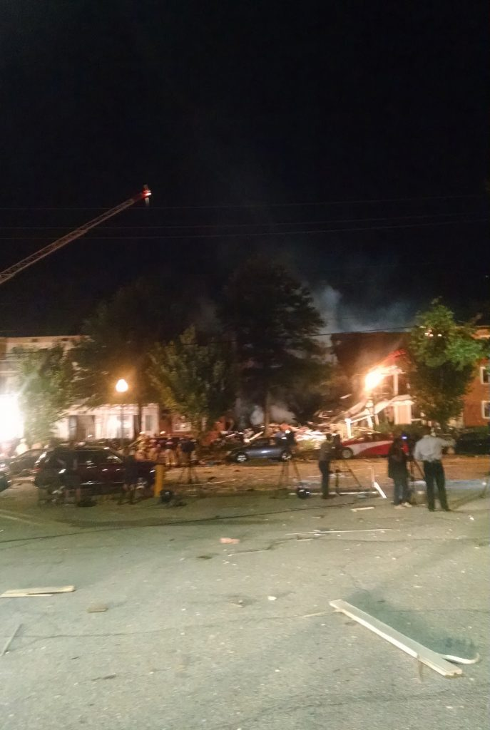 This Wednesday, Aug. 10, 2016 shows the Piney Branch Road apartment fire with structural collapse in Silver Spring, Md. Fire officials say at least 20 to 25 people, including two firefighters, have been injured in a large fire at an apartment building in a Maryland suburb of Washington. According to the Montgomery County Fire and Rescue Service, first responders were dispatched to the scene in Silver Spring just before midnight Wednesday. (Montgomery County Fire and Rescue via AP)