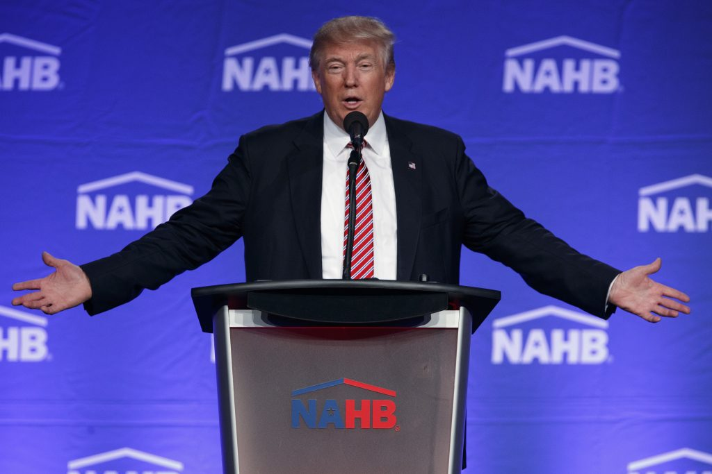 Donald Trump speaks to the National Association of Home Builders in Miami Beach on Thursday. (AP Photo/Evan Vucci)