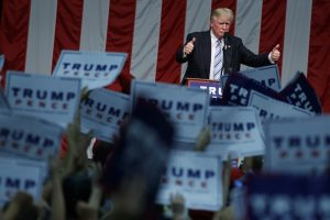 Donald Trump gives a thumbs up after speaking at a campaign rally at Sacred Heart University in Fairfield, Conn., on Saturday. (AP Photo/Evan Vucci)