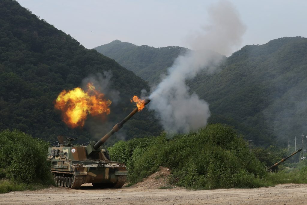 A South Korean army's K-9 self-propelled howitzer fires during a military exercise in Yeoncheon, near the border with North Korea, on Thursday. (Lim Byung-shick/Yonhap via AP).