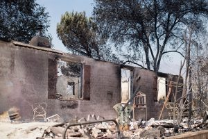A burned-out residence stands amid rubble on Highway 138 on Thursday. (AP Photo/Noah Berger)