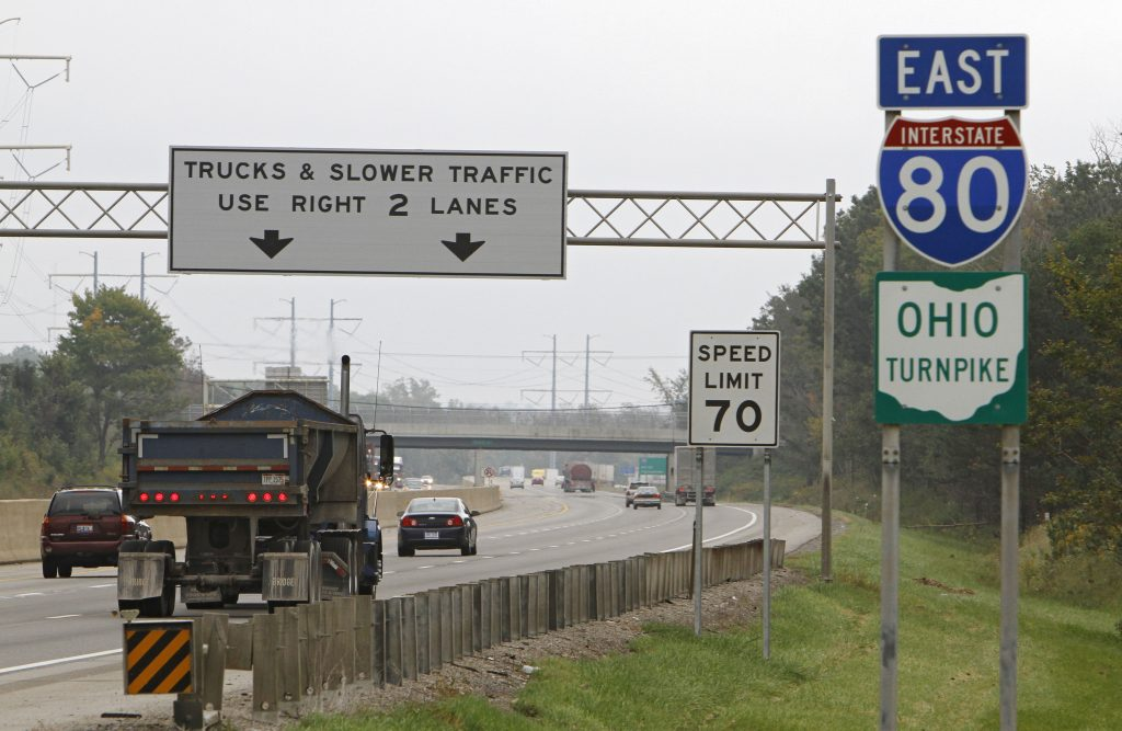 Vehicles drive along the Ohio Turnpike in Strongsville, Ohio. (AP Photo/Mark Duncan, File)