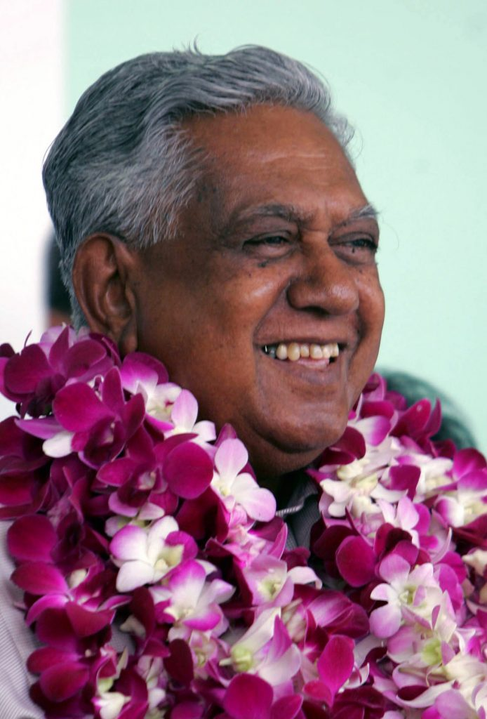 In this Aug. 17, 2005 photo, President S.R. Nathan speaks to government supporters at the ruling People's Action Party headquarters.  (AP Photo/Ed Wray, File)