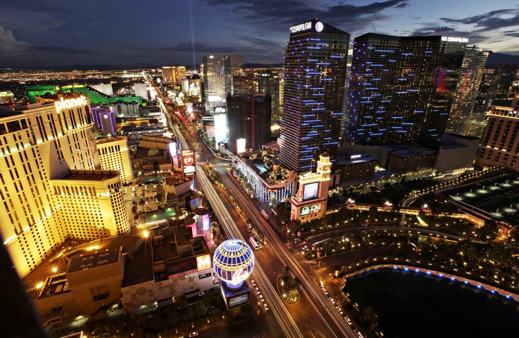 Las Vegas Boulevard in Las Vegas. On a recent earnings call, a resort official said that Las Vegas was benefiting as Zika fears are leading some vacationers away from Carribean and  Florida. (AP Photo/John Locher, File)